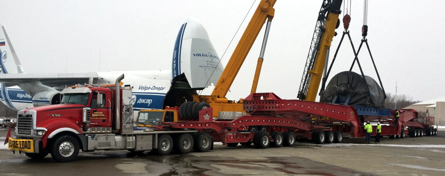 Trans American Trucking superload from Antonov An-124 heavy airlift